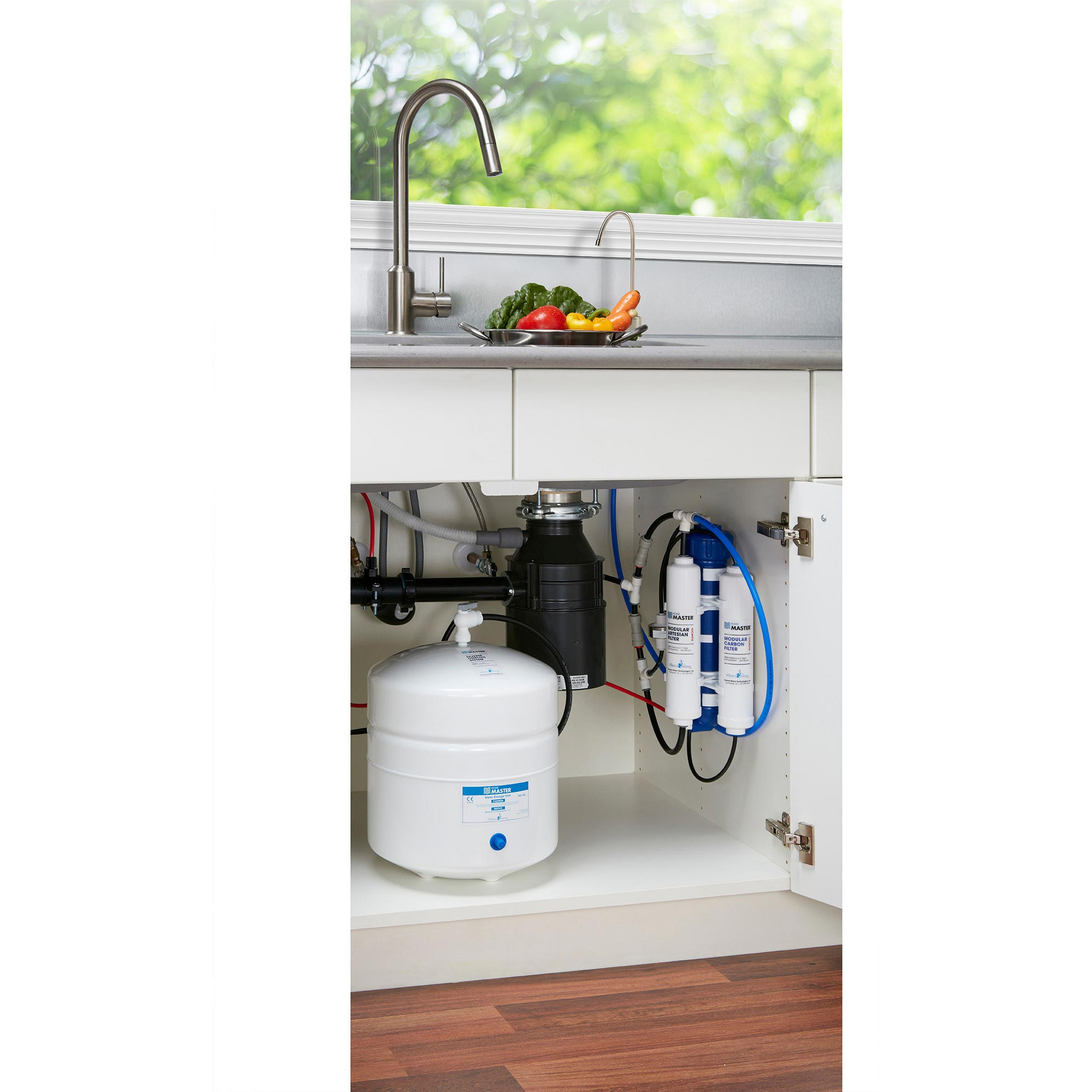Home Master Reverse Osmosis Water Filtration System Installed Under Kitchen Sink
